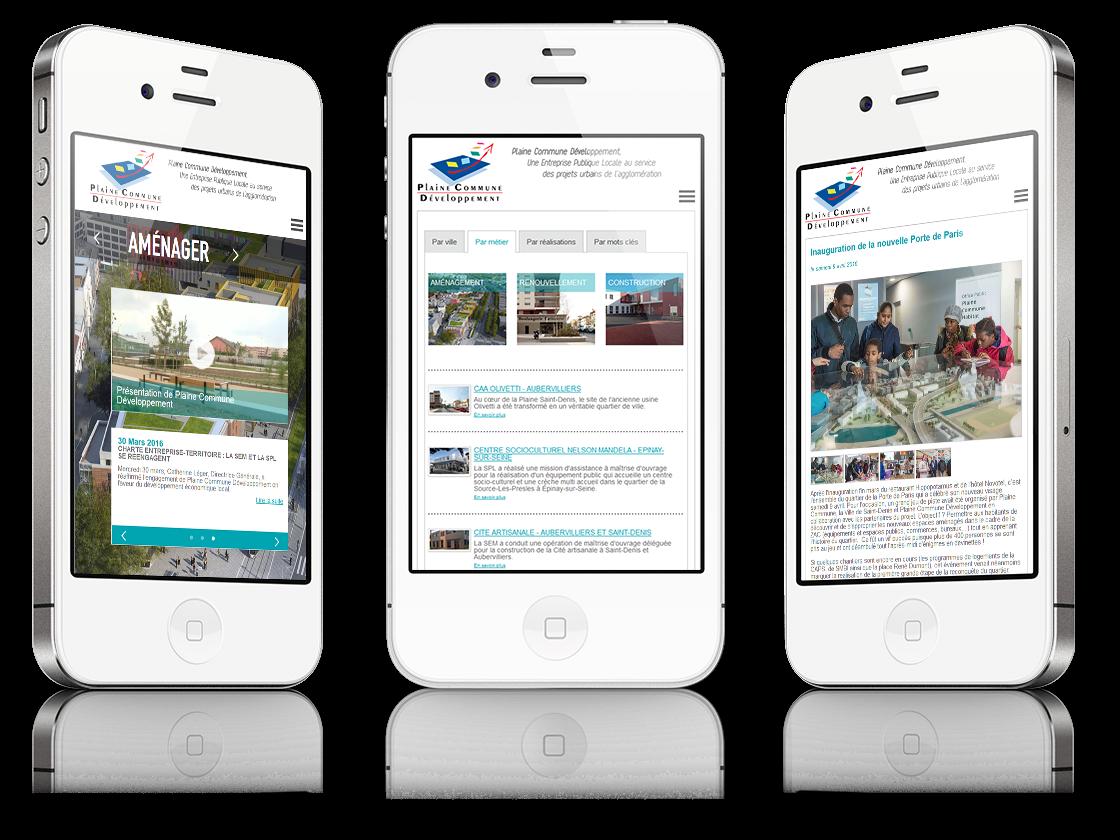 écrans version mobile du site Semplaine